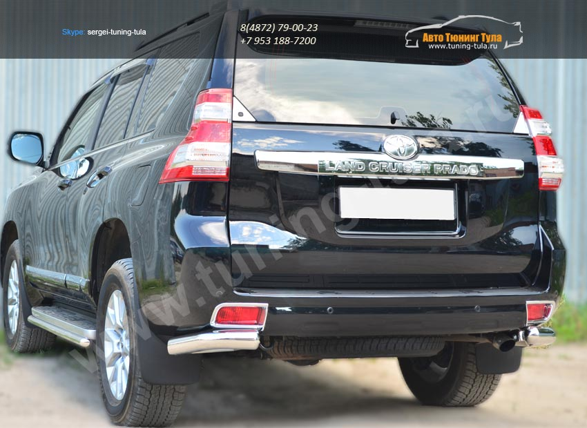 Защита заднего бампера уголки d76(секции) Toyota Land Cruiser Prado 150 2014+ / арт.153-6