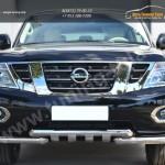 Nissan Patrol 2014- Защита переднего бампера d76 (дуга) d76х2 (дуга)+клыки