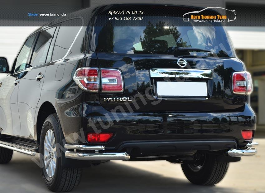 Nissan Patrol 2014-Защита заднего бампера уголки d76(секции) d42 (секции)/ арт.113-3