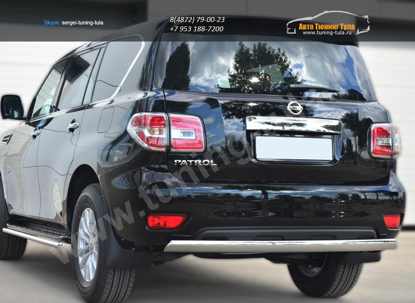 Nissan Patrol 2014- Защита заднего бампера d75х42 (дуга)/ арт.113-5