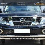 Nissan Patrol 2014- Защита переднего бампера d63 (секции) d63 (уголки)+d42 (зубы)