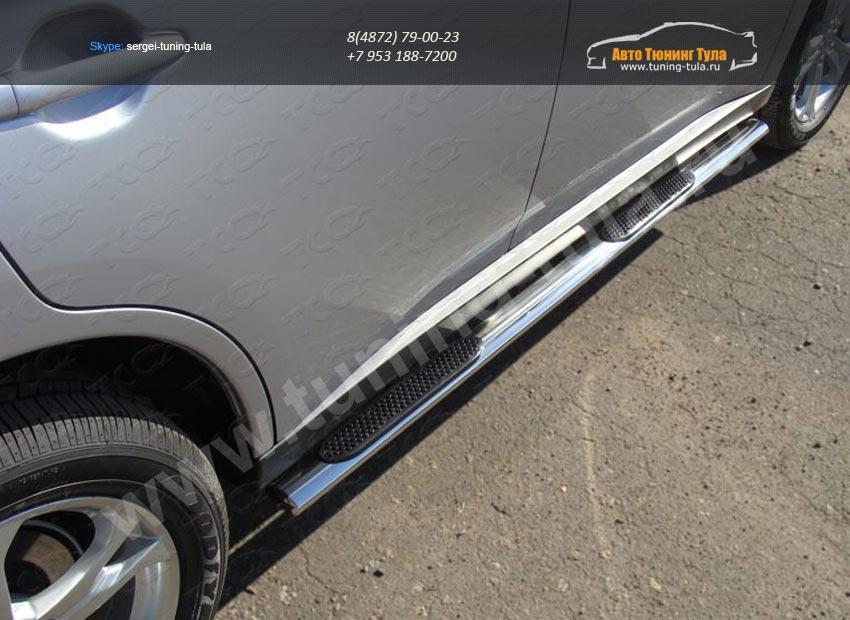 Пороги овальные с накладками 75х42 мм Митсубиши Outlander 2014+ /арт. 144-6-1