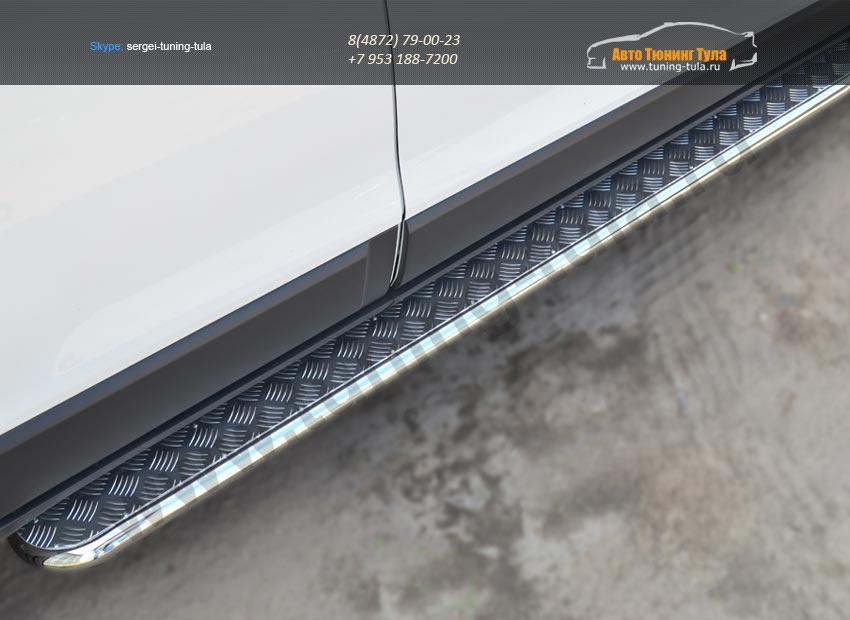 Chevrolet Captiva 2013-Пороги труба D42 с листом алюминий /арт.185-3