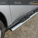 Пороги овальные с накладками 120х60 мм Митсубиши Outlander 2014+