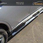 Пороги овальные с накладками 75х42 мм Митсубиши Outlander 2014+