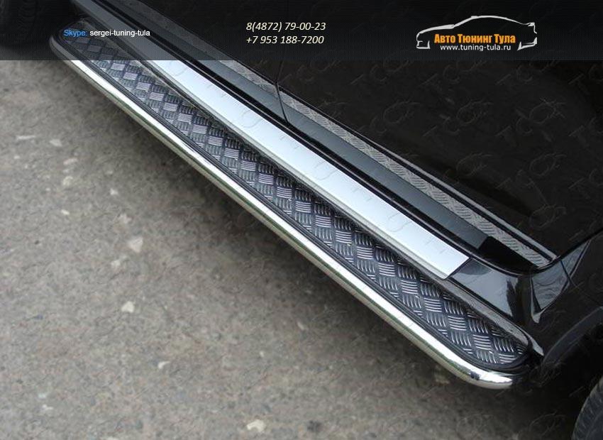 Пороги с площадкой 42,4 мм Nissan Terrano 2014 /арт.144-33