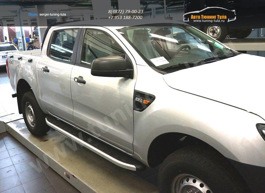 Пороги алюминиевые (Alyans) Ford Ranger 4 дв 2012+/арт.692-7