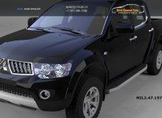 Пороги алюминиевые (Alyans) Mitsubishi L200 (2006-2013 / 2014-)арт.684-4