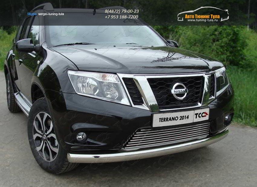 Защита передняя нижняя (овальная) 75х42 мм Nissan Terrano 2014/арт.144-25