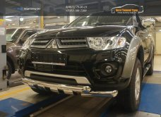 Защита переднего бампера Mitsubishi Pajero (Митсубиши Паджеро) Sport (2008-)/L200 (2014-) d76/арт.684-10