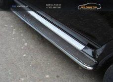 Пороги с площадкой (нерж. лист) 42,4 мм Nissan Terrano 2014 /арт.144-30