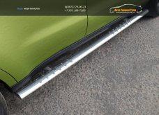 Пороги овальные с проступью 75х42 мм код KIA SOUL 2014+/арт.752-8