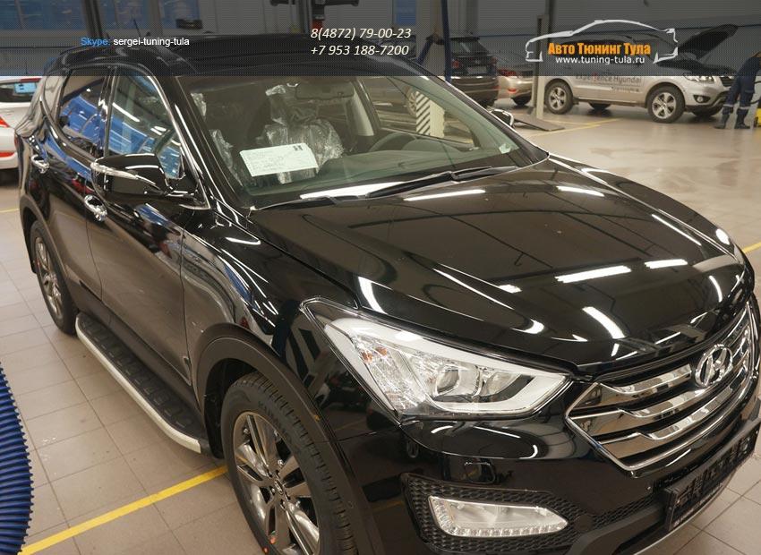 Пороги алюминиевые (Alyans) Hyundai Santa Fe (Хёндай Санта Фе) (2012-/2013-)/арт.677-16