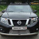 Защита передняя нижняя (овальная) 75х42 мм Nissan Terrano 2014