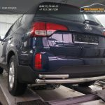 Защита заднего бампера Kia Sorento (Киа Соренто) (2012-) (одинарная с уголками) d60/42