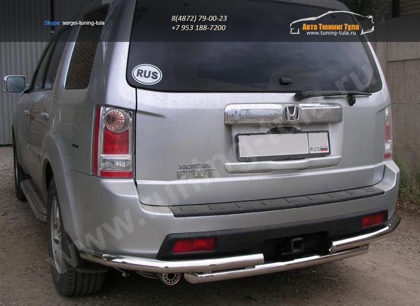 Задняя защита труба с угловой защитой d60 Honda Pilot 2008+/арт.754-2