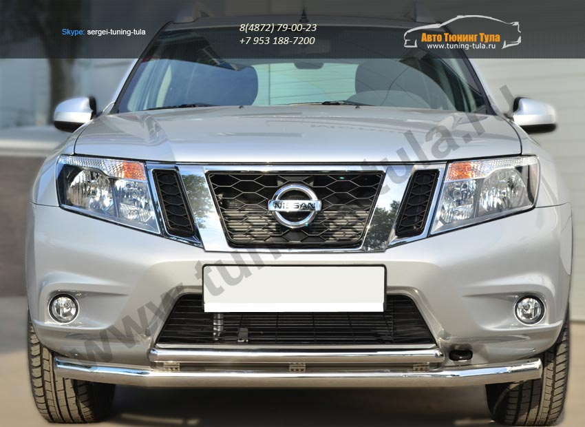 Nissan Terrano 2014-  Защита переднего бампера d63 (секции) d42 (дуга) декор-паз  /арт.144-43