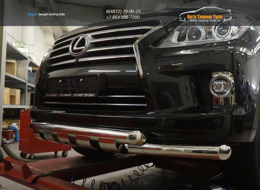 Защита переднего бампера Lexus LX570 (двойная Shark) d76/76 2014+/арт.670-5