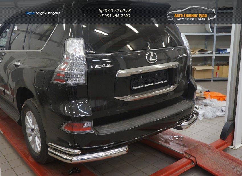 Защита заднего бампера Lexus GX460 (2014-) (уголки) d76/42/арт.300-18