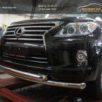 Защита переднего бампера Lexus LX570 (двойная) d76/76