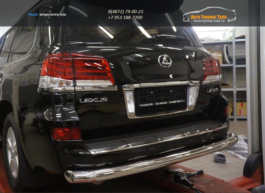 Защита заднего бампера Lexus LX570 (одинарная) d76/арт.670-2