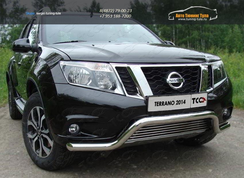 Защита передняя (кенгурин с решеткой) 60,3/12 мм для Nissan Terrano 2014+/арт.144-20