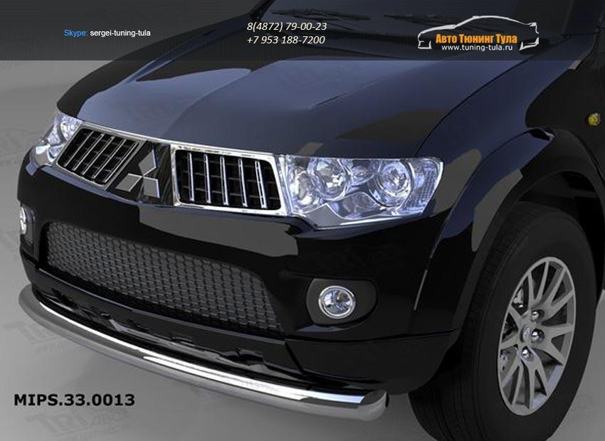 Защита переднего бампера Mitsubishi Pajero (Митсубиши Паджеро) Sport (2008-)/L200 (2014-) (одинарная) d76/арт.684-9