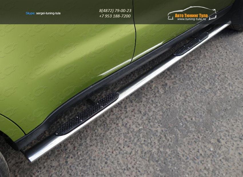 Пороги овальные с накладкой 75х42 мм KIA SOUL 2014+/арт.752-7
