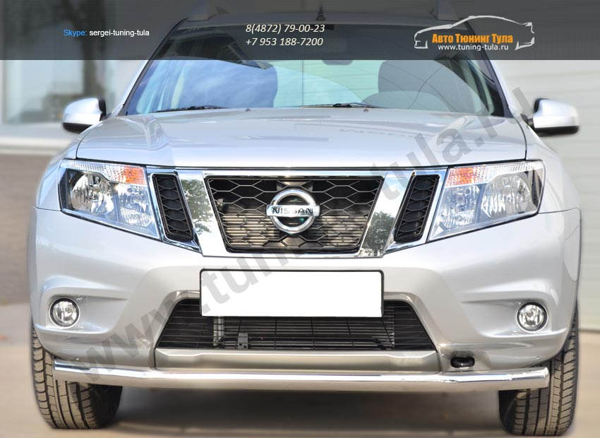 Nissan Terrano 2014-  Защита переднего бампера d63 (секции) / арт.144-38