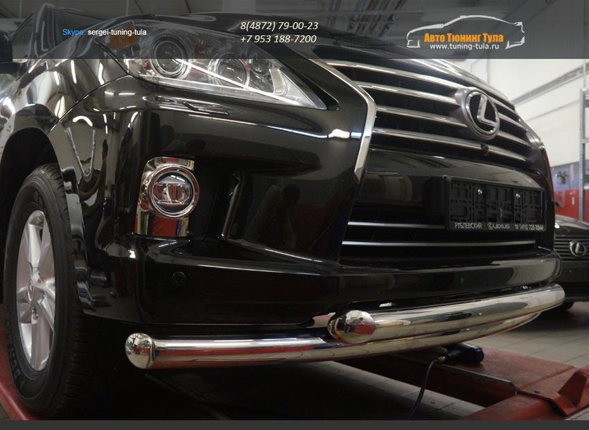 Защита переднего бампера Lexus LX570 (двойная) d76/76 2014+/арт.670-6