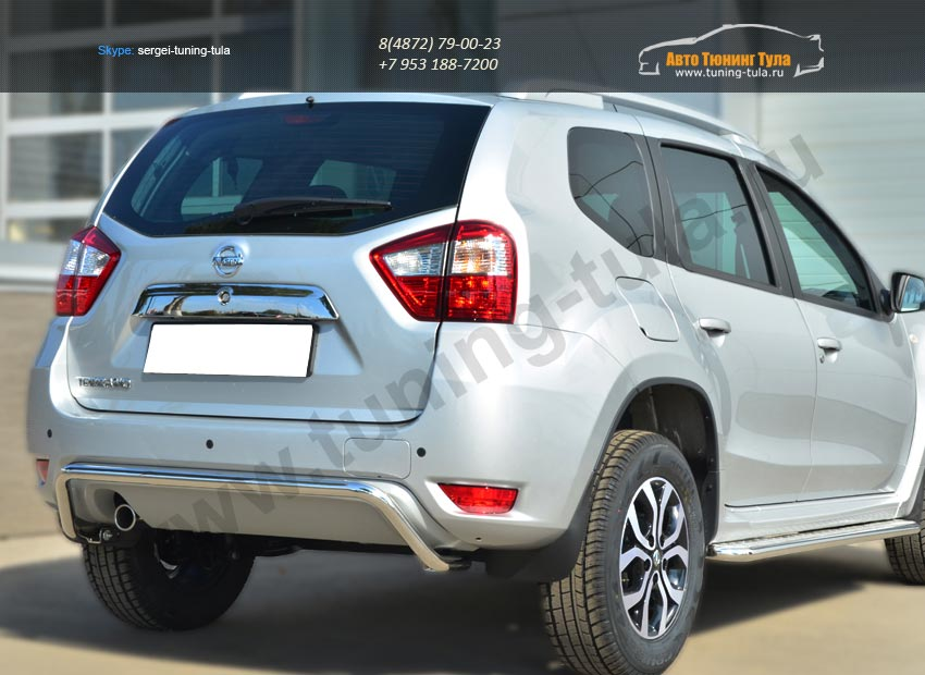 Nissan Terrano 2014-  Защита заднего бампера d42 (волна) / арт.144-37
