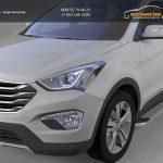 Пороги алюминиевые (Opal) Hyundai Santa Fe (Хёндай Санта Фе) (2012-/2013-)