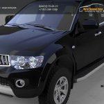 Пороги алюминиевые (Alyans) Mitsubishi L200 (2006-2013 / 2014-)