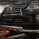 Защита переднего бампера Lexus LX570 (двойная Shark) d76/76