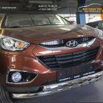 Защита переднего бампера Hyundai IX-35 (2009-) (двойная Shark) d60/60