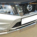 Nissan Terrano 2014-  Защита переднего бампера d63 (волна) с декор надписью  /арт.144-41