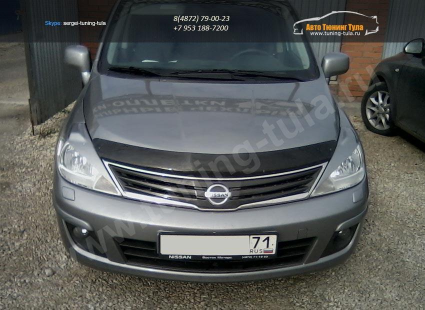 Накладки на передние фары (реснички) Nissan Tiida 2004-2007/арт.114-2