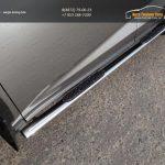 Пороги овальные с накладкой 75х42 мм Lexus NX 300H 2014+
