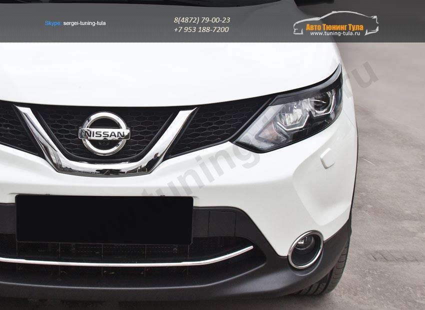 Накладка на фары / Реснички Nissan Qashqai 2014+/арт.740-21-2