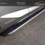 Пороги алюминиевые с пластиковой накладкой (карбон серебро) Lexus NX 300H 2014+