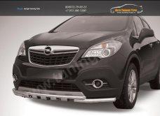 Защита переднего бампера d57+d42 двойная с профильной защитой картера Opel MOKKA 2012+/арт.723-6
