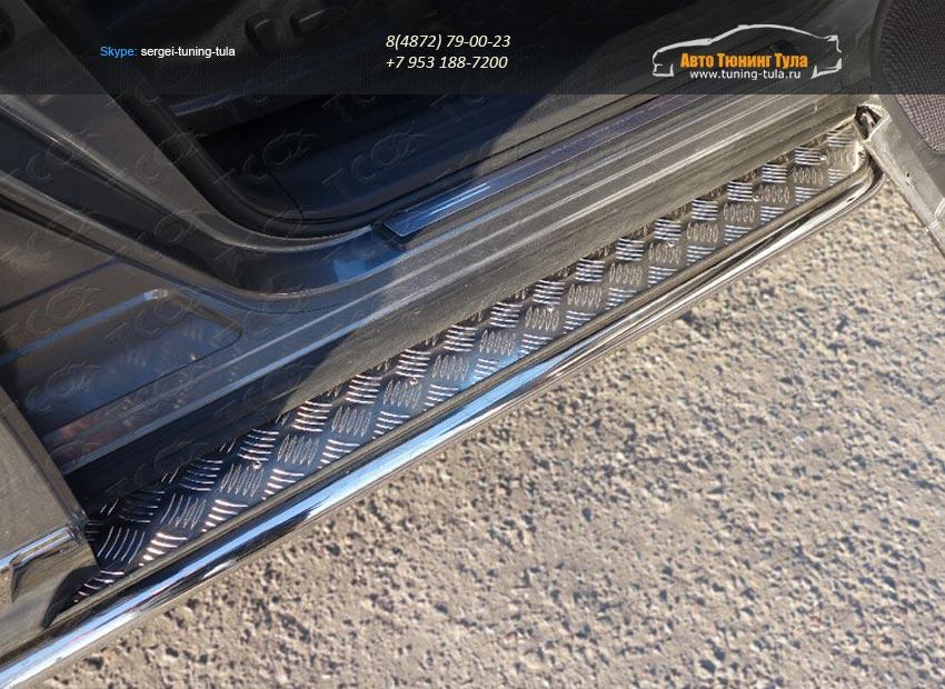 Пороги с площадкой 42,4 мм Nissan Pathfinder 2014+/арт.651-9