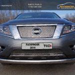 Защита передняя нижняя (овальная) 75х42 мм Nissan Pathfinder 2014+