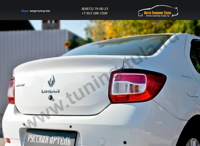 Накладки фар задние/АБС-пластик/Реснички на Renault Logan 2014+/арт.136-4