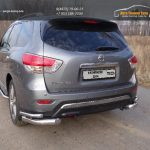 Защита задняя (уголки двойные) 76,1/42,4 мм Nissan Pathfinder 2014+