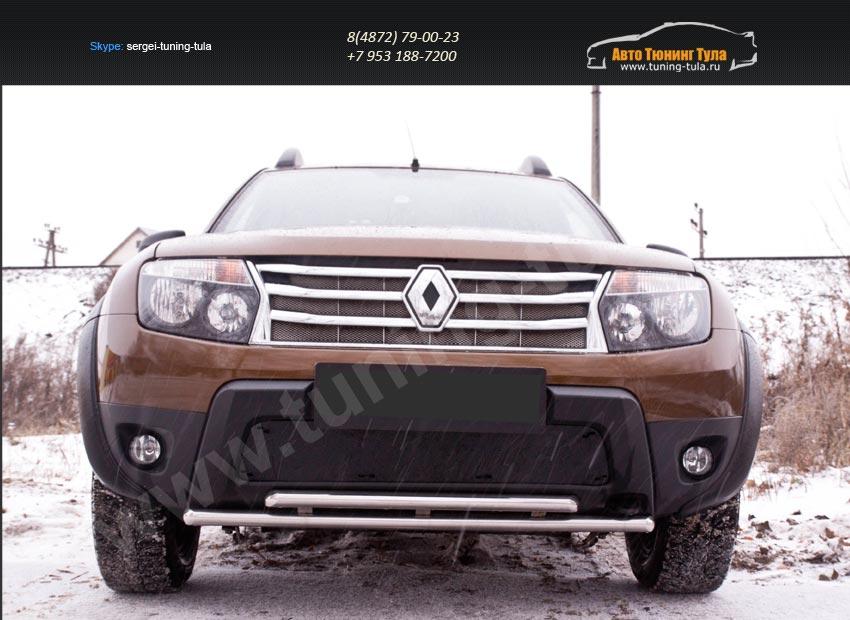 Зимняя заглушка решетки переднего бампера (без «дхо» и обвеса) Renault Duster 2010+/арт.743-32