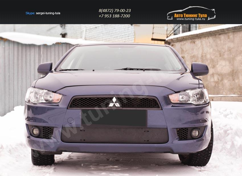 Зимняя заглушка решетки переднего бампера Mitsubishi Lancer X 2007-2010/арт.599-1