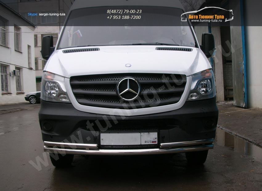 Передняя защита труба двойная d60+d42 Mercedes-Benz Sprinter 515 2014+/арт.803