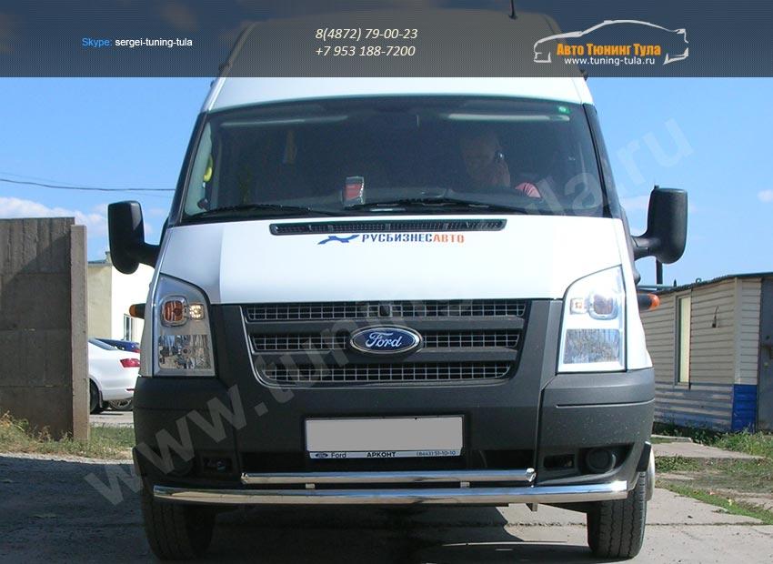 Передняя защита труба двойная d60+d42 Ford Transit/арт.802