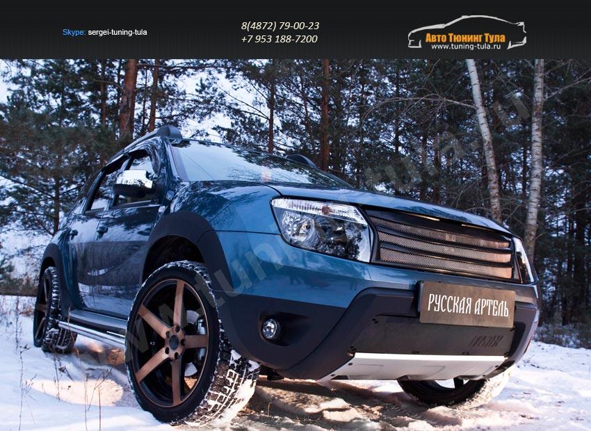 Зимняя заглушка решетки переднего бампера (без «дхо» с обвесом) Renault Duster 2010+/арт.743-34